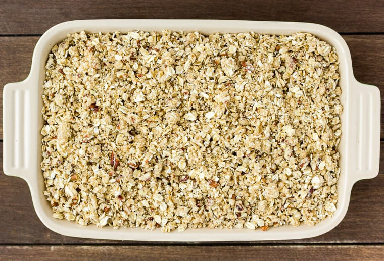 Apple Cranberry Crisp in a Rectangular Casserole Dish