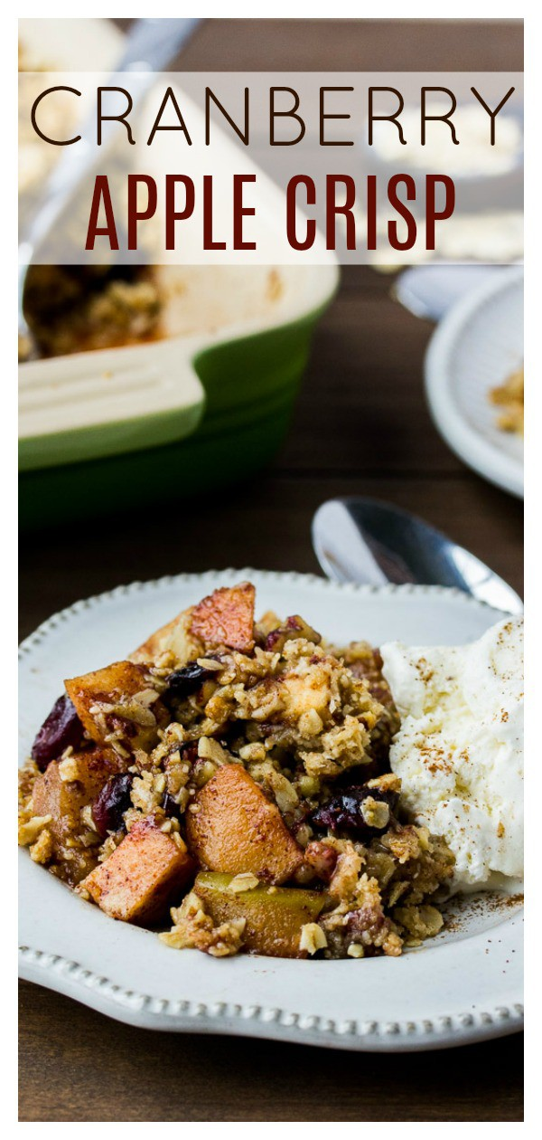 Cranberry Apple Crisp is an easy dessert recipe to make for the Thanksgiving or anytime in the Fall where a delicious dessert is needed! It's sweet and tart and spicy all in one! It pairs amazingly well with ice cream and can also be made gluten free! | #dlbrecipes #applecrisp #dessert #falldessert #appledessert #glutenfree