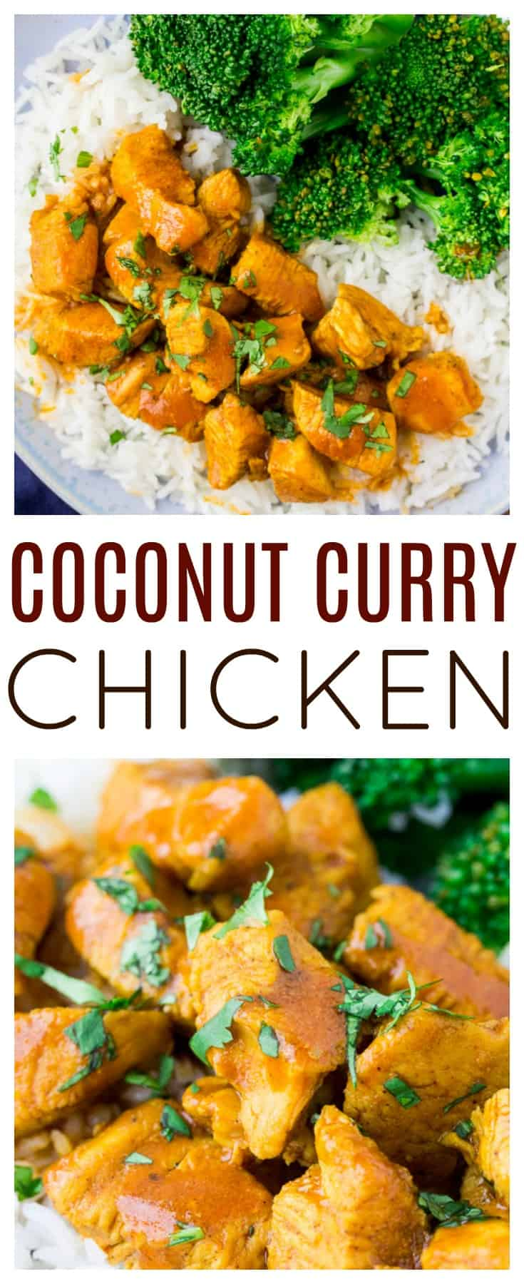 Coconut Curry Chicken is an easy to make main dish recipe that is loaded with sweet coconut and spicy curry flavors! Add some veggies and make it a complete meal! This curry recipe is also gluten free and low carb when eaten on it's own! | #dlbrecipes #currychicken #coconutcurry #chickenrecipe #glutenfree #lowcarb