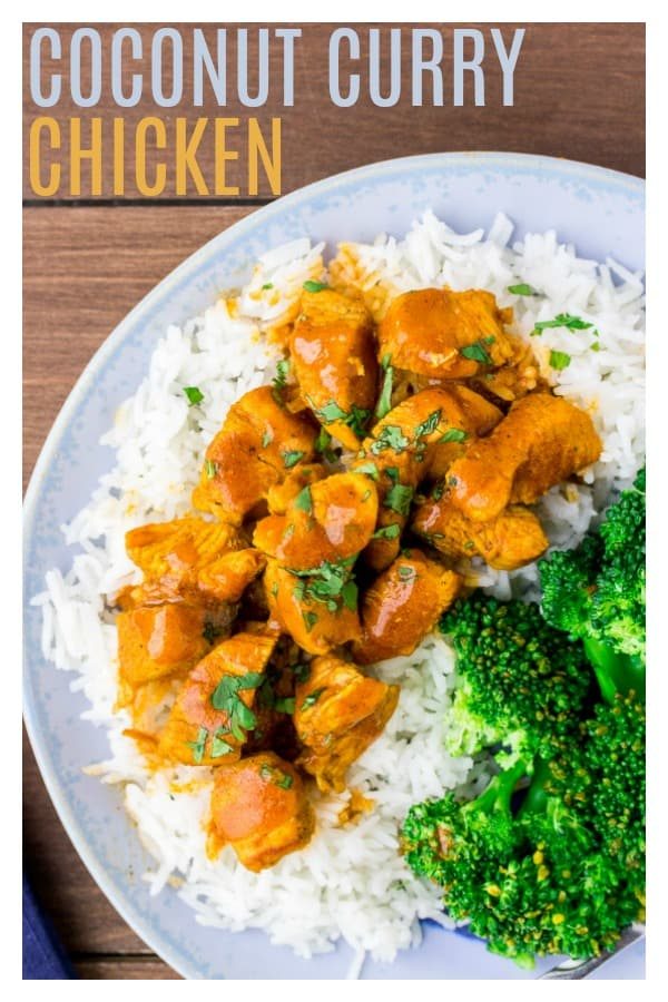 Coconut Curry Chicken is a incredibly flavorful main dish recipe! It's loaded with sweet coconut and spicy curry flavors. An added bonus - it's naturally gluten free and low carb (on it's own). | #dlbrecipes #coconutcurrychicken #currychicken #chickenrecipe #glutenfree #lowcarb