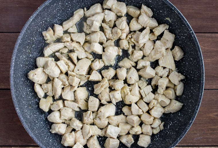 Cooked Chicken Cubes in a Skillet
