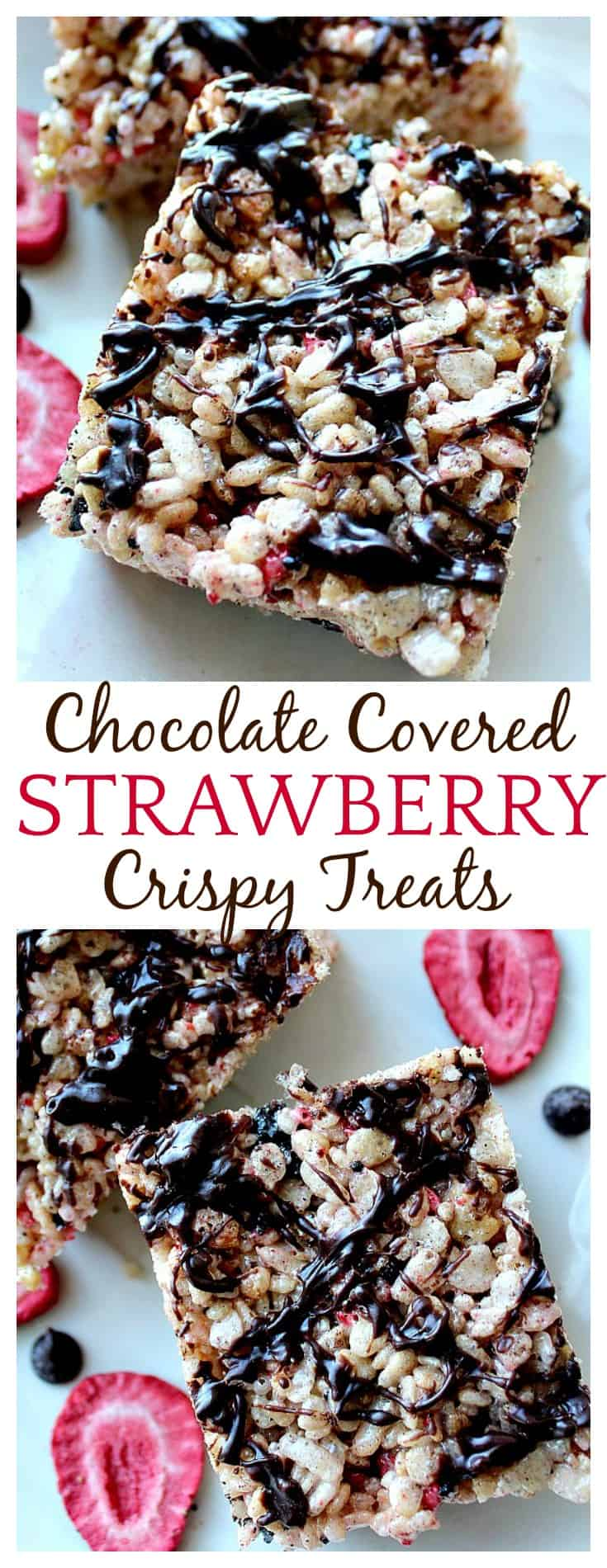 If you love chocolate covered strawberries, you have got to try these Chocolate Covered Strawberry Crispy Rice Treats - with chocolate and strawberry all throughout, these aren't just for the kids :) These would make a great Valentine's Day dessert too!
