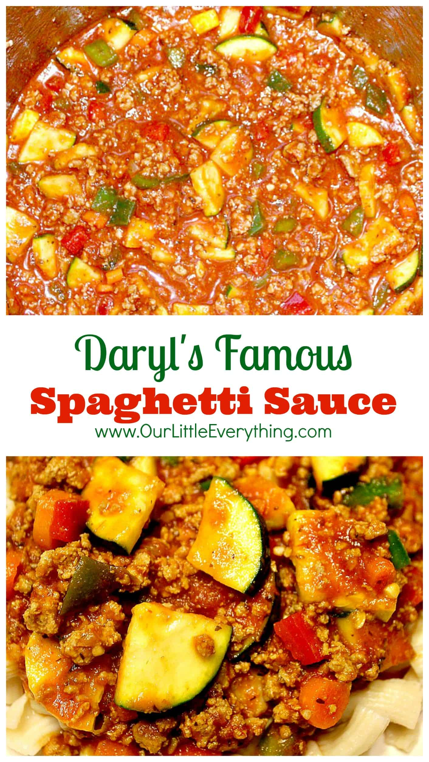 I LOVE this spaghetti sauce! Sure it's loaded with vegetables, but also with flavor! Daryl sure knew what he was doing when he created this spaghetti sauce recipe because I was NOT a fan of pasta until I tried this! | www.OurLittleEverything.com
