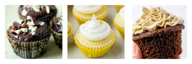 Collage of 3 cupcakes recipes