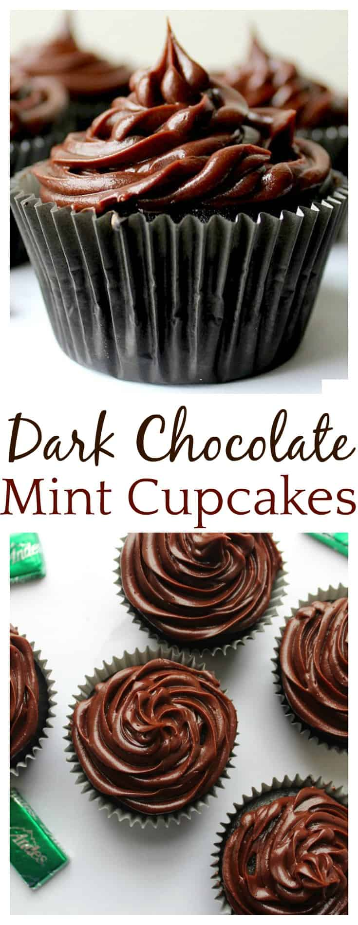 Ohhh these Dark Chocolate Mint Cupcakes were so easy to make and very indulgent! The mint is not overpowering at all! They will make the perfect Valentine's Day dessert but I can see making these for birthdays, as a St. Patrick's Day dessert, or even for Christmas!
