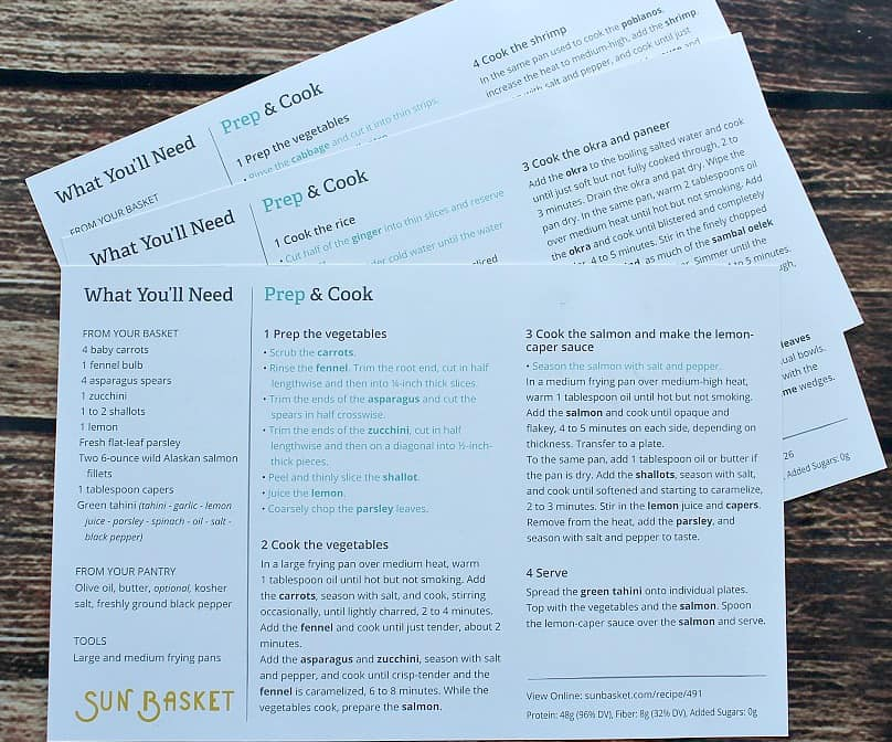 Sun Basket Recipe Cards