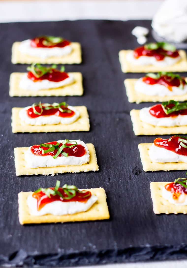 Strawberry Goat Cheese Crackers on a piece of gray slate