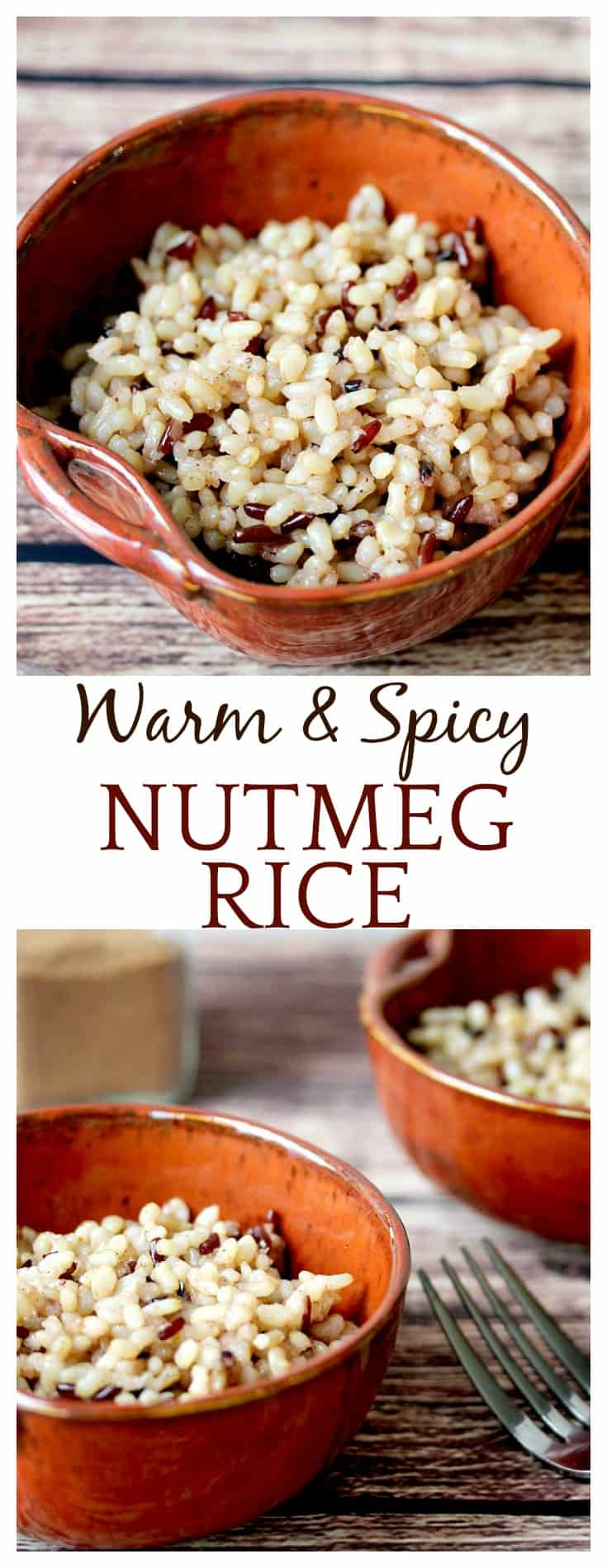 My dad used to make the Nutmeg Rice all the time! It's warm and spicy - another perfect Fall recipe to enjoy as a side dish or even as a dessert!