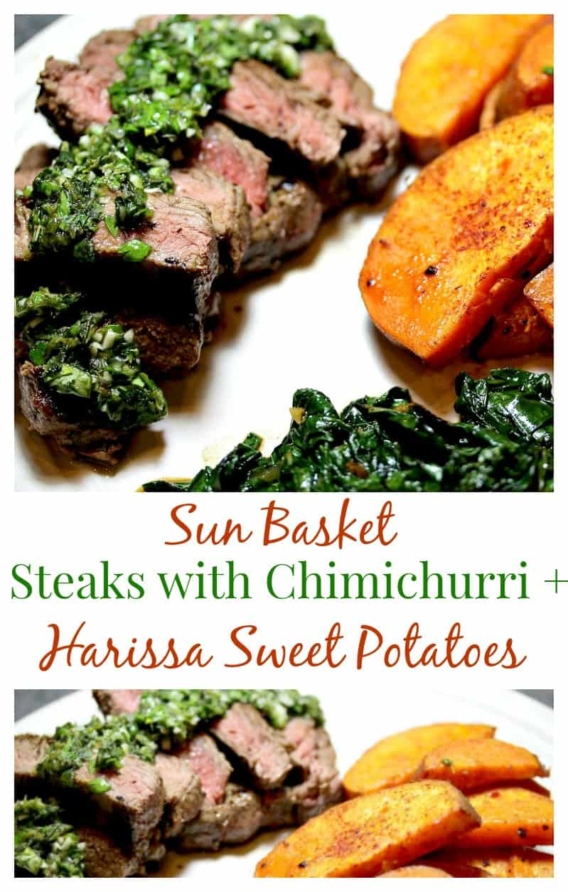 Steaks with Chimichurri and Harissa-Roasted Sweet Potatoes