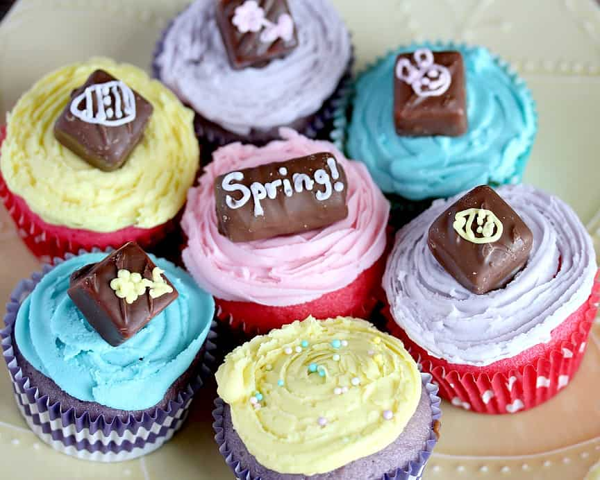 Spring Inspired Vanilla Candy Cupcakes