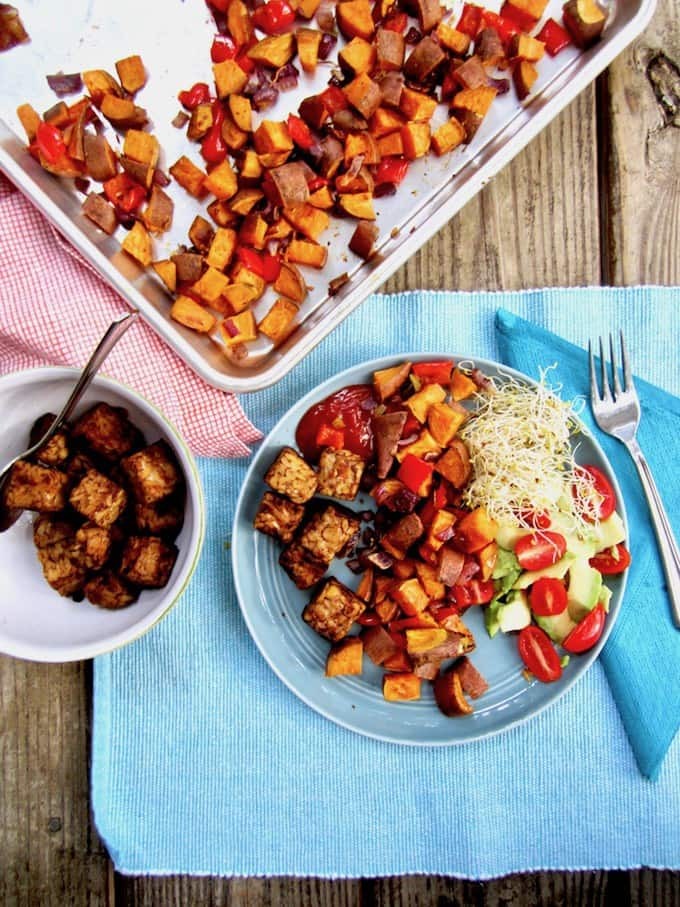 Smokey Tempeh & Roasted Sweet Potato Hash