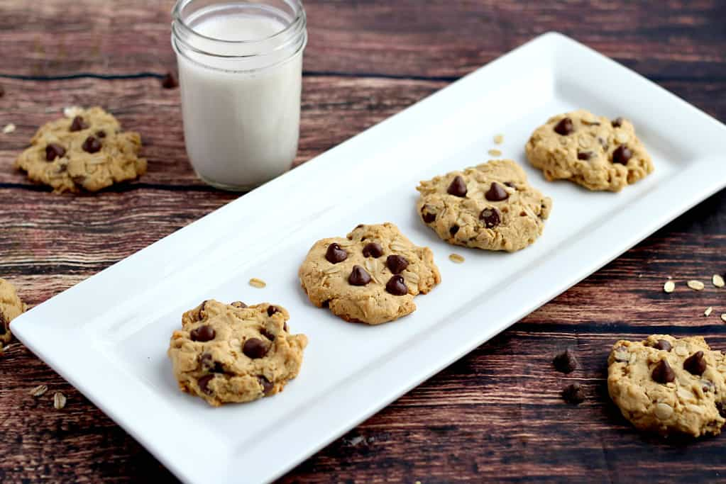 Finished Cookies on a Serving Tray with Milk