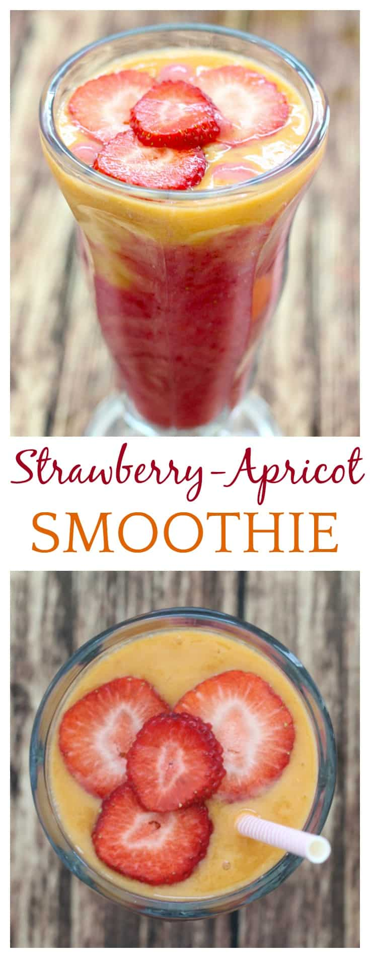 My current favorite way to enjoy fresh apricots is in this Summertime Strawberry-Apricot Smoothie! This recipe only takes about 5 minutes and is the perfect way to start a summer day!
