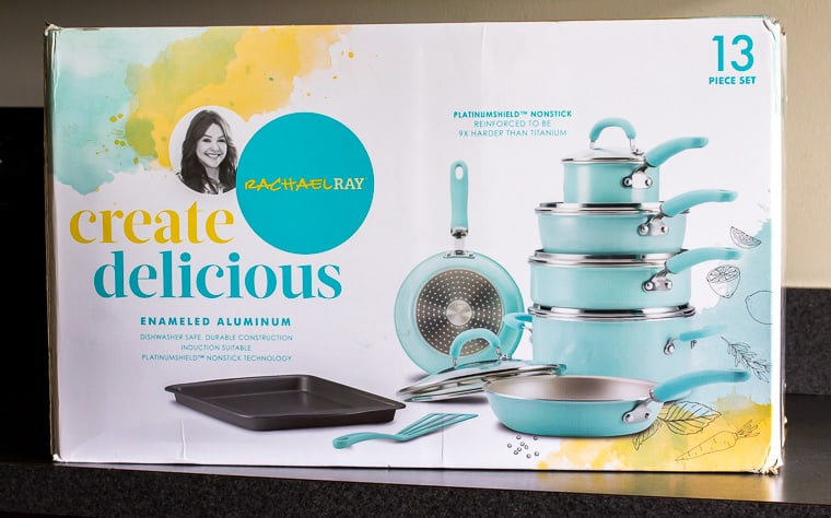 Rachael Ray Create Delicious Cookware box on a gray counter