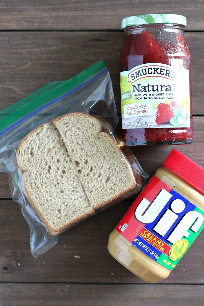 Jif, Smucker's and Peanut Butter and Jelly Sandwich in a Ziploc Bag