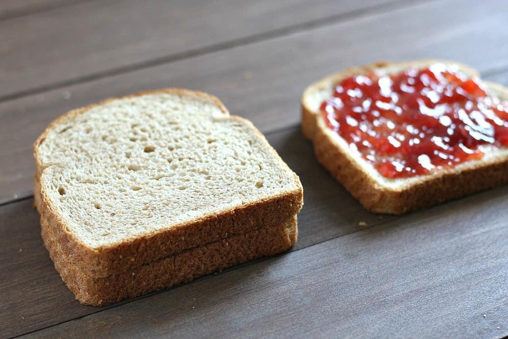 Half Made Big Kid PBJ Sandwich