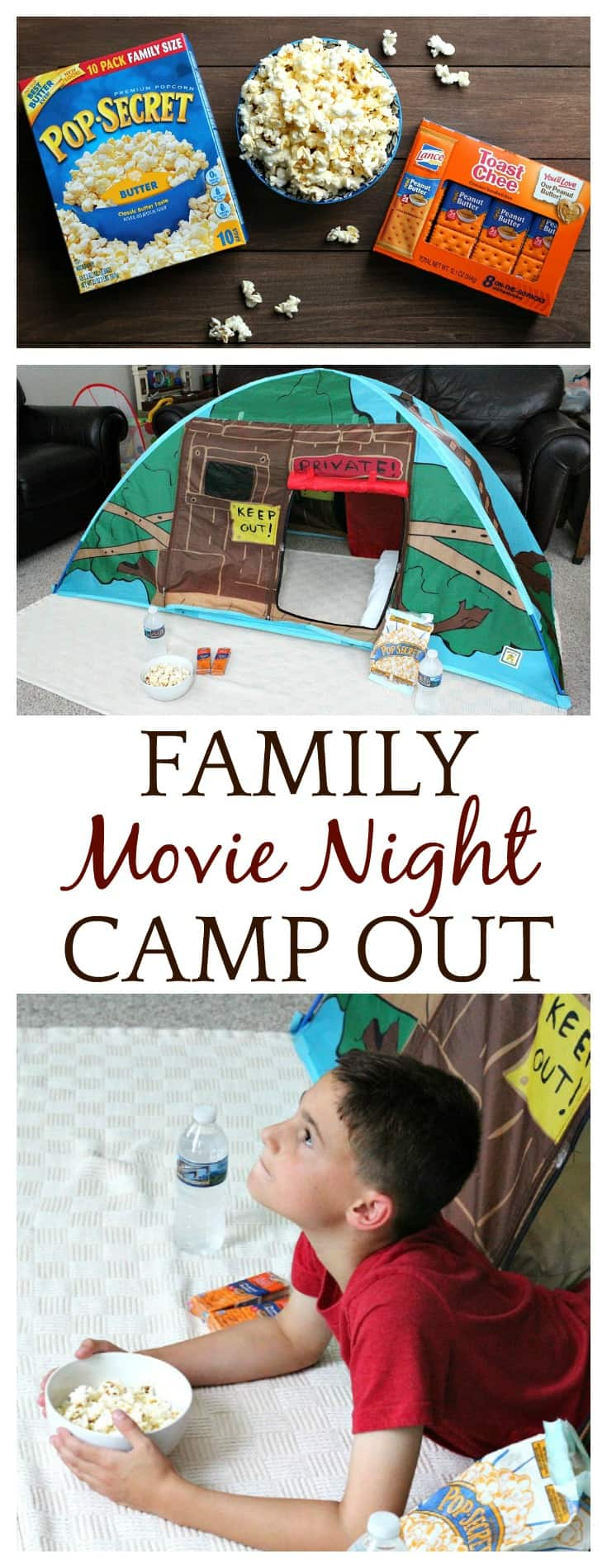 See how our family does a movie night camp out - complete with a tent, blankets, and plenty of Pop Secret Popcorn and Lance Snacks from Walmart! #ad #Pop4Captain #Pmedia