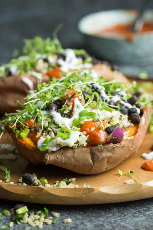 Loaded Sweet Potatoes with Quinoa Tabbouleh