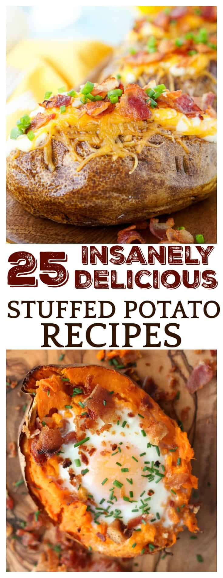 These 25 Insanely Delicious Stuffed Potato Recipes are all so amaing, it will be hard to decide which to try first! From loaded white potatoes to stuffed sweet potatoes, this list has it all! There are even recipes for potato skins and loaded smashed potatoes as well!