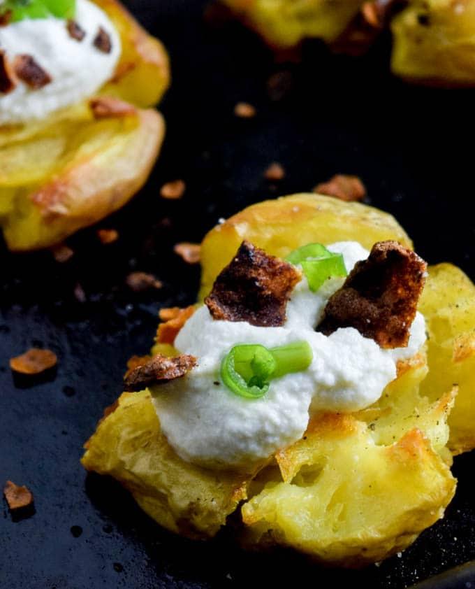 Vegan Loaded Smashed Potatoes