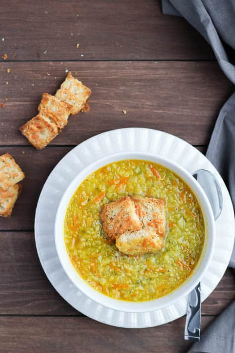 Homemade Parmesan Croutons on Top of Soup