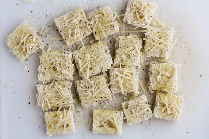 Bread Cubes Topped with Parmesan Cheese