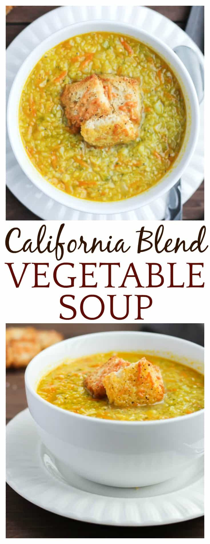 Cauliflower, broccoli, and carrots come together deliciously in this California Blend Vegetable Soup topped with Parmesan Croutons! | vegetarian soup recipe gluten free low carb #soup #DLB