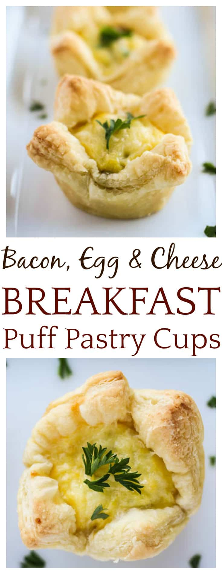 These all-in-one Bacon, Egg, and Cheese Breakfast Puff Pastry Cups are a fun, delicious way to start the day! The easy breakfast recipe also works great for brunch and kids love them too! #breakfast #brunch #puffpastry #easyrecipe #puffpastrycups #DLB