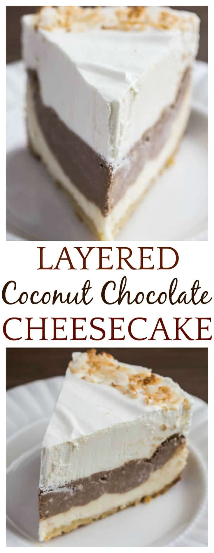 This Layered Coconut Chocolate Cheesecake is super indulgent, and easier to make than you might think! One layer is a really flavorful coconut cheesecake, while the other is a sweet, rich chocolate cheesecake! The final layer is sweet homemade whipped cream! This is a surprisingly easy recipe to make! | #cheesecake #coconutcheesecake #chocolatecheesecake #easyrecipes #DLB #dessert