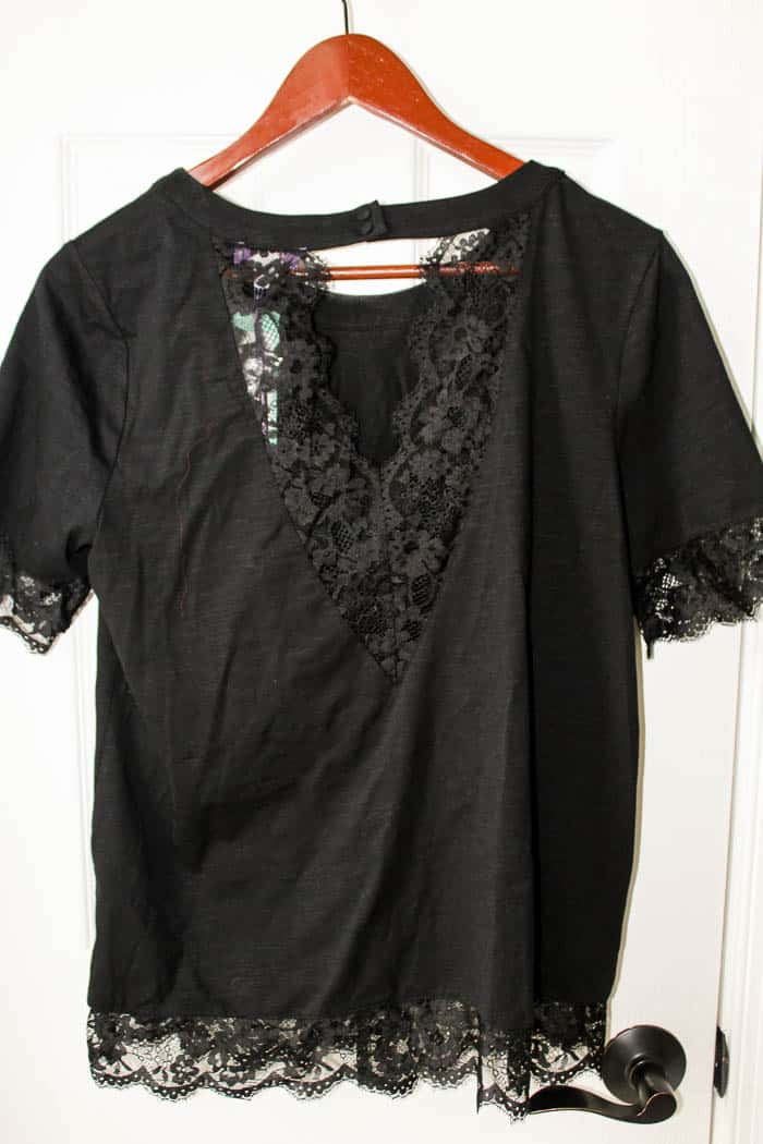 Back View of TRULEY POPPY Sanaz Lace Detail Knit Tee