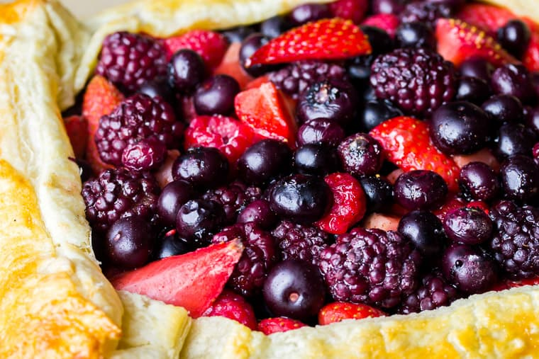 Close up of the baked Mixed Berry Puff Pastry Tart
