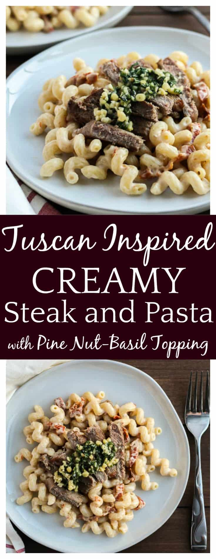 This incredibly flavorful Tuscan Inspired Steak and Pasta recipe will be on the table in less than 30 minutes! It's an easy recipe that's family friendly and perfect for busy weeknights! #dlbrecipes #pasta #steak #easyrecipe #steakandpasta #pastarecipes