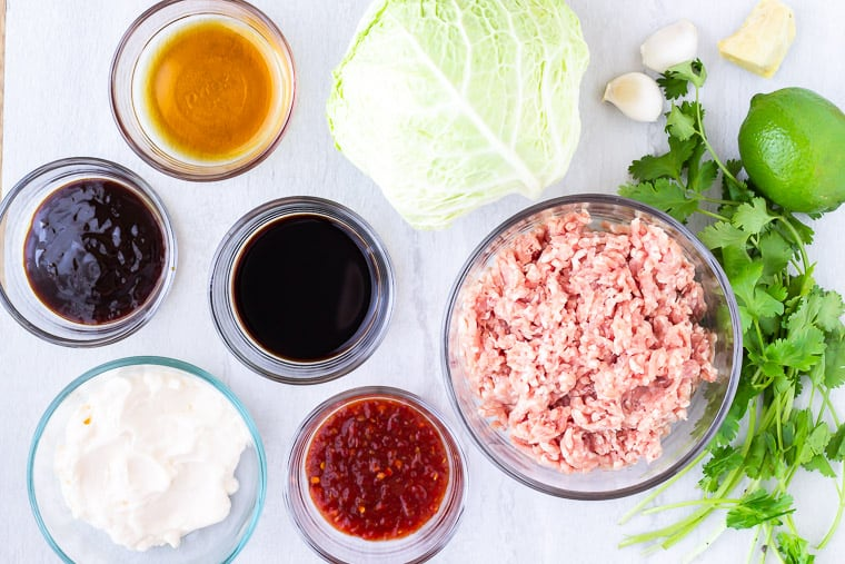 All of the ingredients needed to make Asian Pork Tacos in glass bowls over a white background