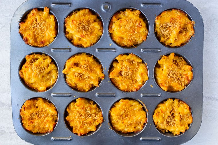 Baked mac and cheese in a muffin pan