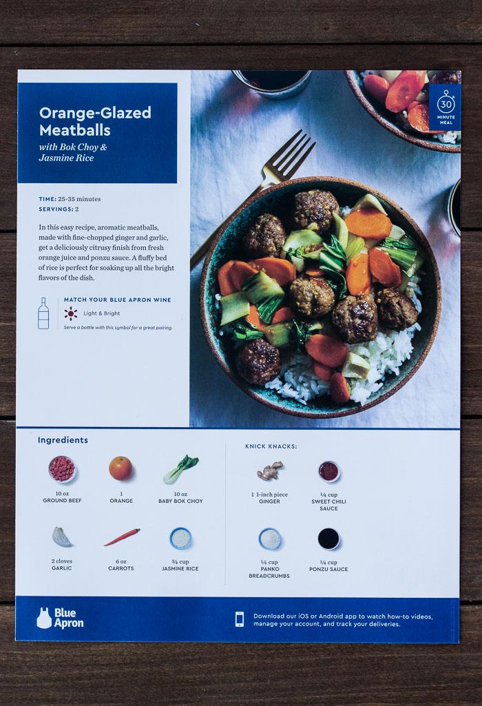 Blue Apron Recipe Card for Orange-Glazed Meatballs