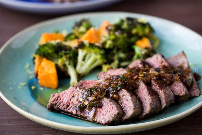 Steak & Warm Lemon Salsa Verde on a Green Plate