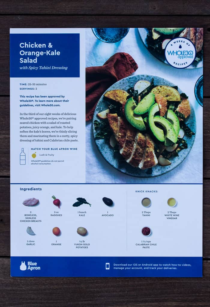 Blue Apron Recipe Card for Whole 30 Chicken & Orange-Kale Salad