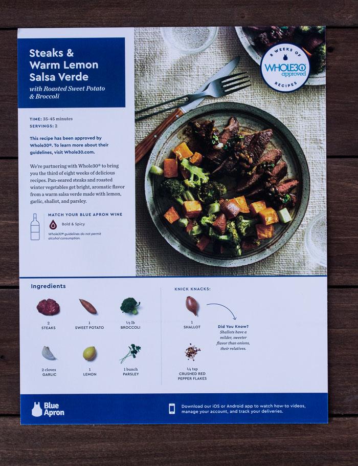 Blue Apron Recipe Card for Whole 30 Steaks & Warm Lemon Salsa Verde