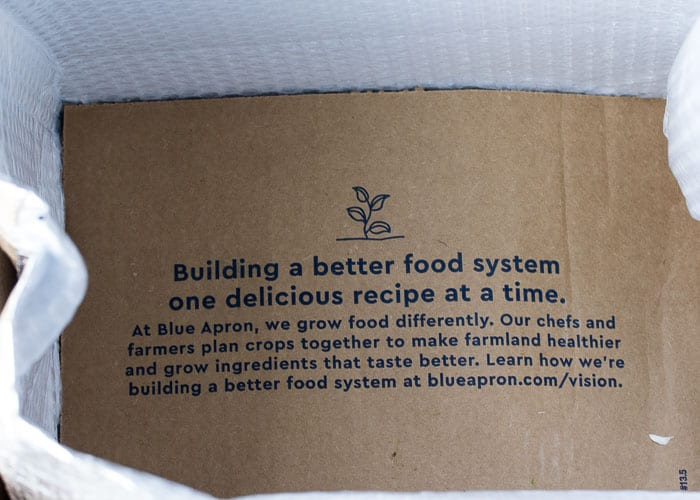 Cardboard Divider in a Blue Apron Box