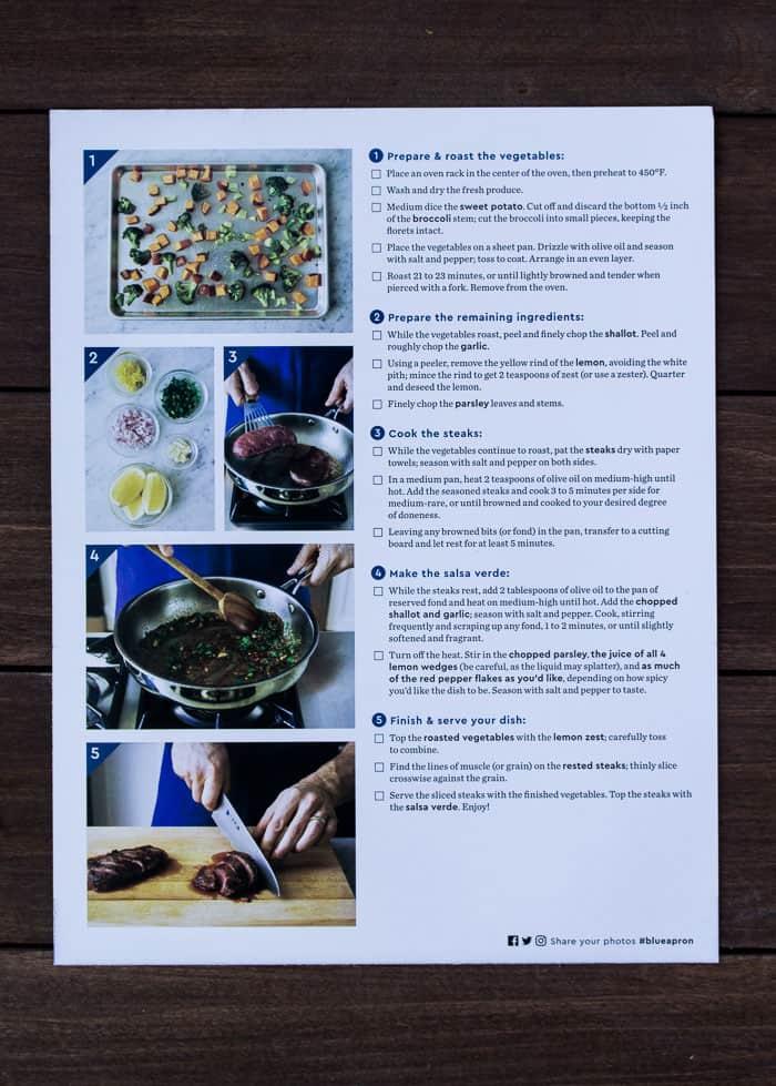 Recipe Card Instructions for Steaks & Warm Lemon Salsa Verde