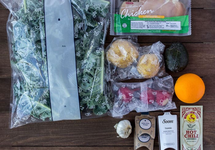 Ingredients Laid Out for the Chicken & Orange-Kale Salad
