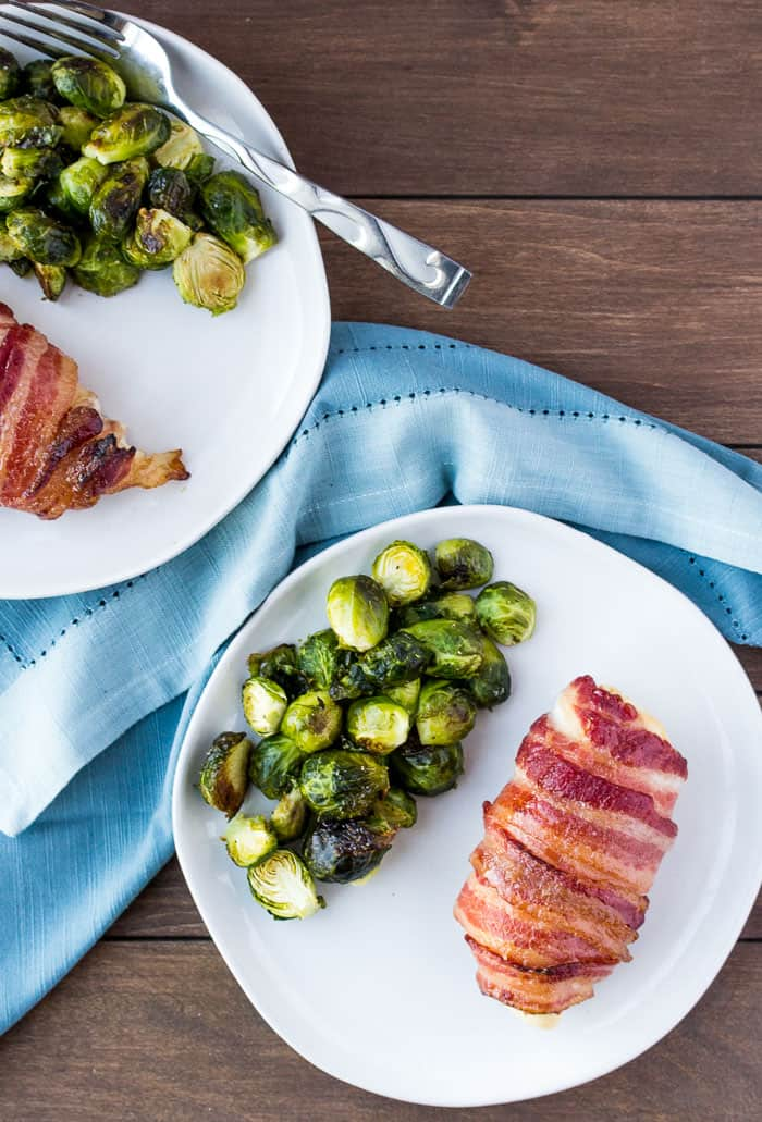 Overhead View of Bacon Wrapped Chicken and Brussels Sprouts