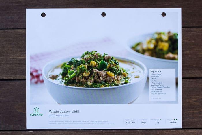 Recipe Card for Home Chef's White Turkey Chili