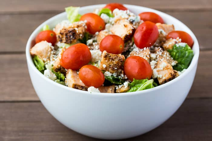 Buffalo Chicken and Blue Cheese Salad in a White Bowl
