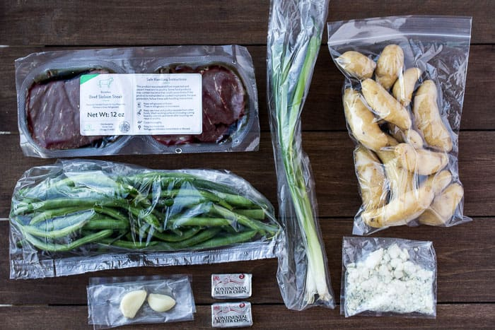 Ingredients Laid Out for the Sirloin Steak and Blue Cheese Compound Butter Recipe