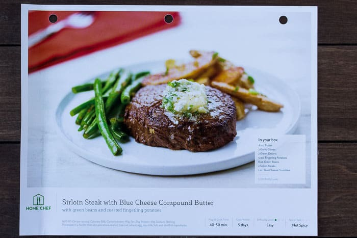 Home Chef Sirloin Steak with Blue Cheese Compound Butter Recipe Card