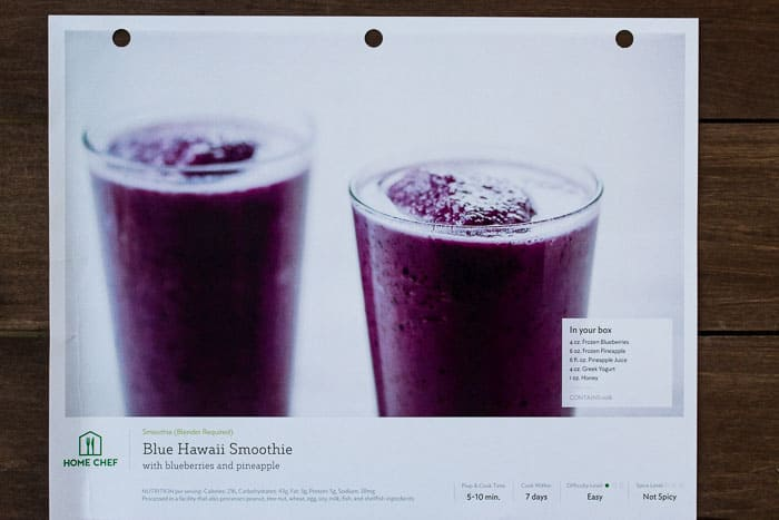 Home Chef Blue Hawaii Smoothie Recipe Card