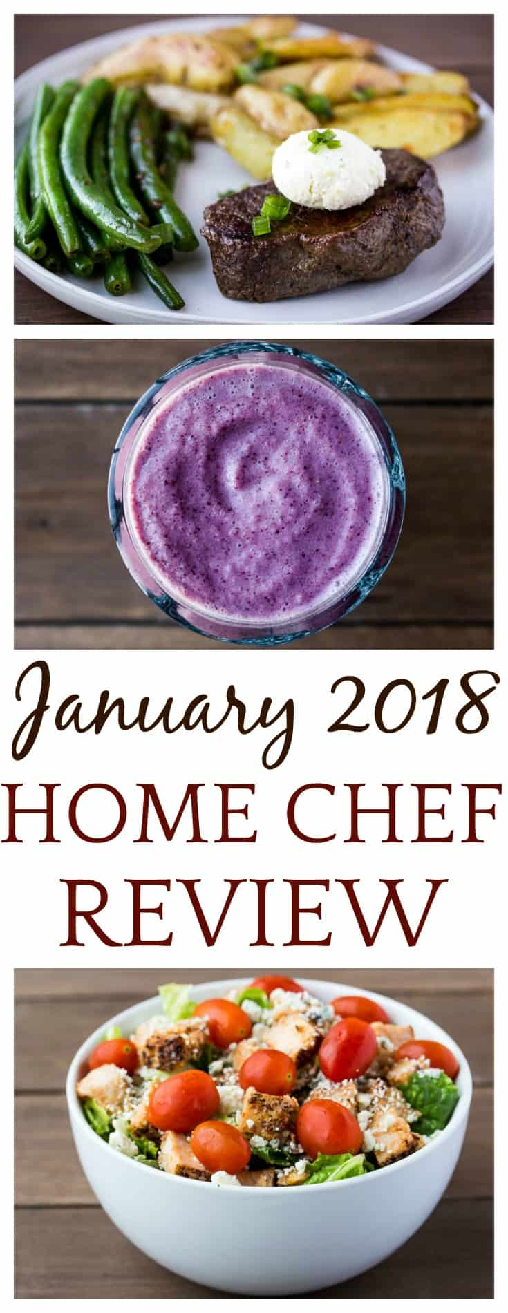 I've really been loving Home Chef! This is my third January 2018 Home Chef Subscription Box Review. It includes a salad, smoothie, and complete meal! | #homechef #homechefmeals #homechefreview #mealkits #subscriptionbox