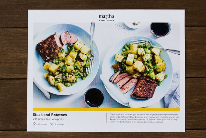Martha and Marley Spoon Steak and Potatoes Recipe Card