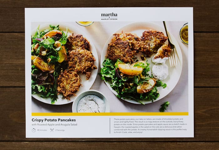 Martha and Marley Spoon Recipe Card for Crispy Potato Pancakes